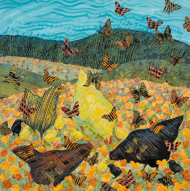 Hens-and-butterflies-36x36-Ann-Munson