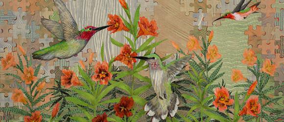 Hummingbirds-and-Stinky-Monkeyflower-36x48-Ann-Munson