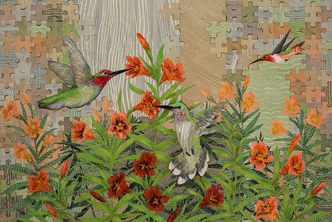 Hummingbirds-and-Stinky-Monkeyflower-36x48-Ann-Munson