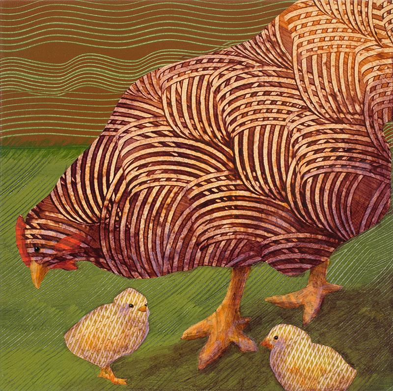 Amber-Hen-with-Chicks-no.-2-12x12-Ann-Munson