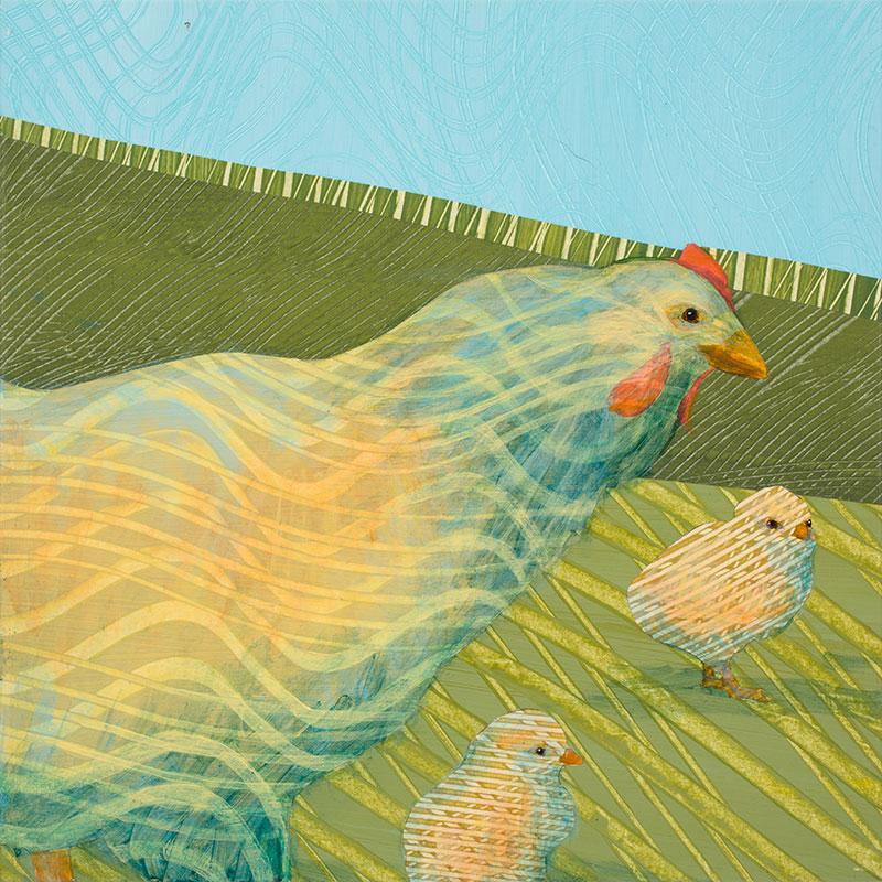 Blue-Hen-with-Chicks-no.-1-12x12-Ann-Munson