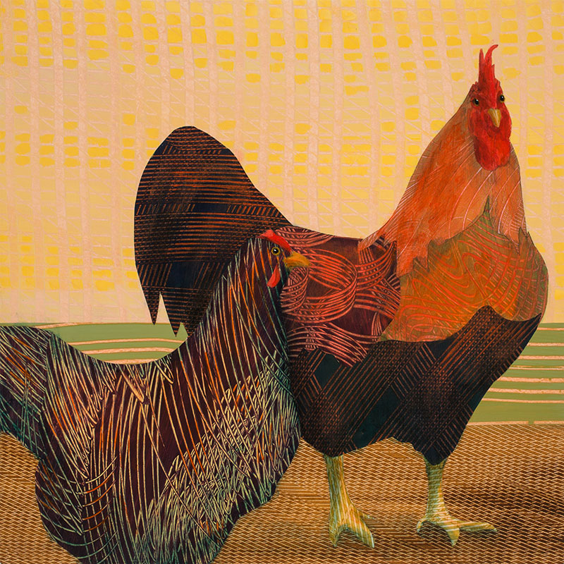 Rooster-and-Hen-18x18-Ann-Munson