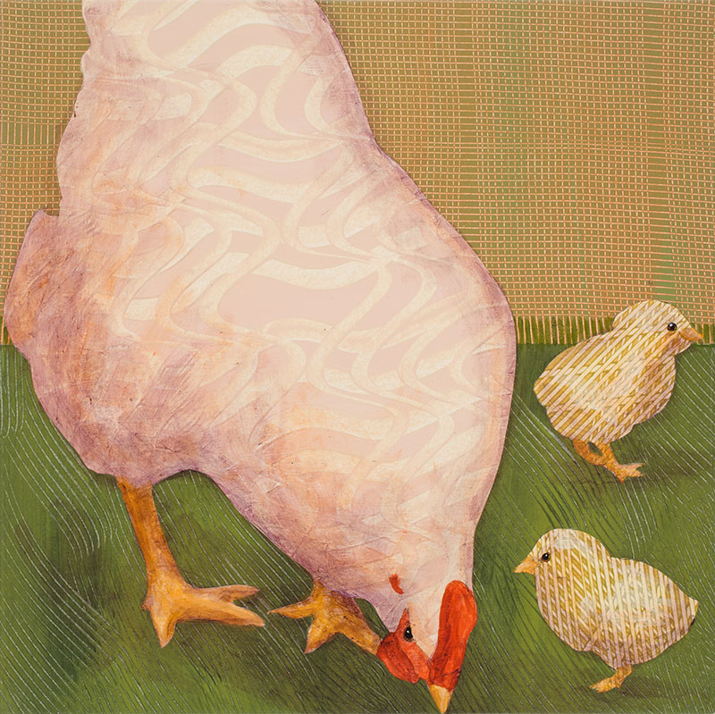 White-Hen-with-Chicks-no.-3-12x12-Ann-Munson