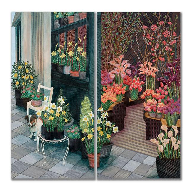 ParisFlowerShop-Diptych-48x48-Ann-Munson